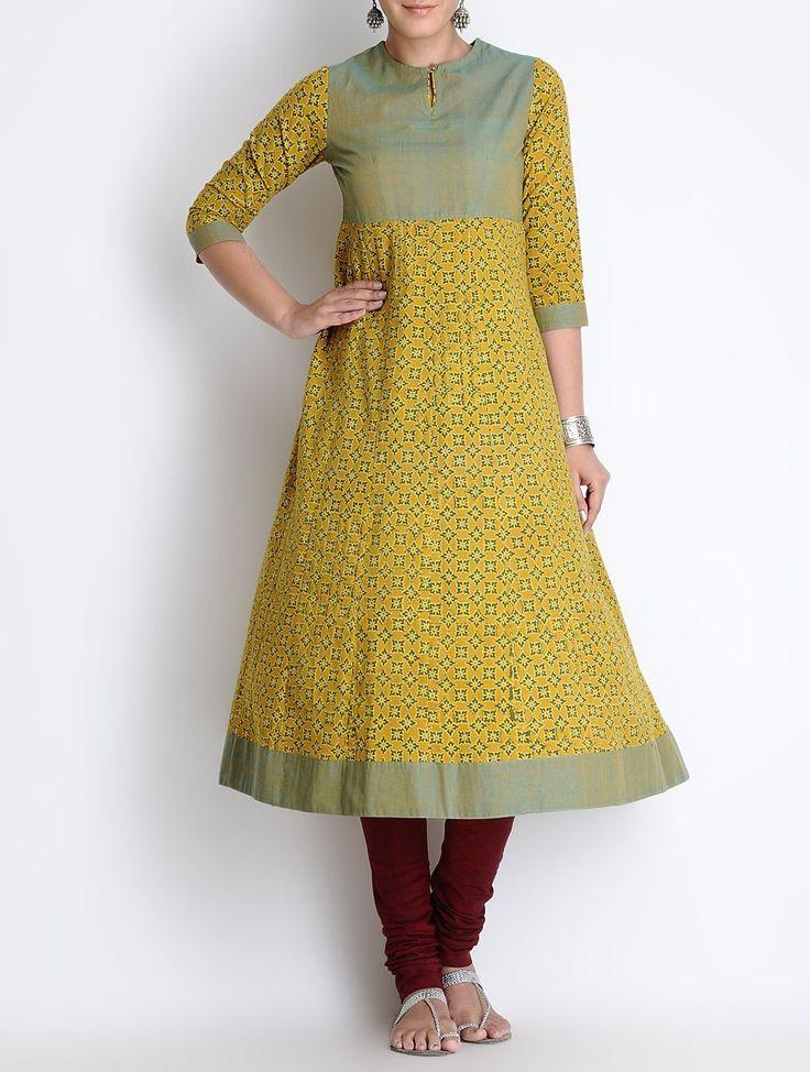 Buy Yellow Green Ajrakh Printed Kalidar Cotton Kurta Apparel Tunics & Kurtas Meraki Block Clothing Online at Jaypore.com