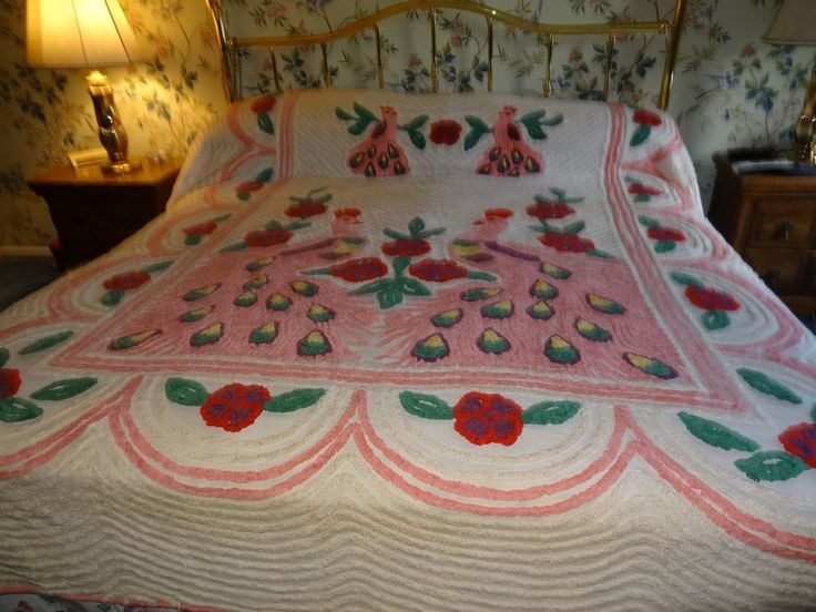 fab vintage plush double peacocks flowers chenille bedspread - Chenille Bedspreads