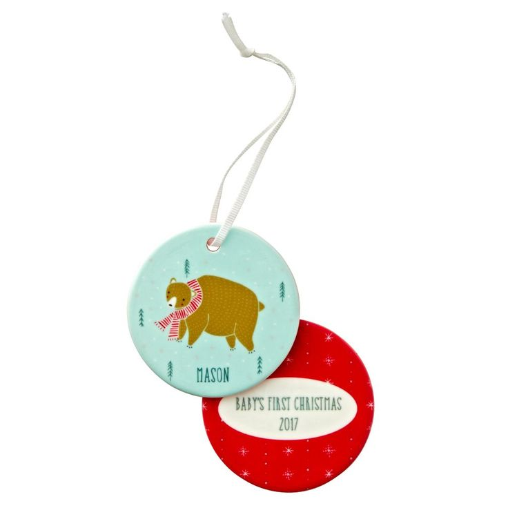 Shop You Name It Gingiber Personalized Bear Ornament.  The front of this personalized Christmas ornament features a bear with a scarf against a light green background.