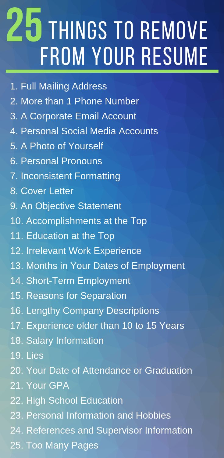 25 things to remove from your resume resume how to
