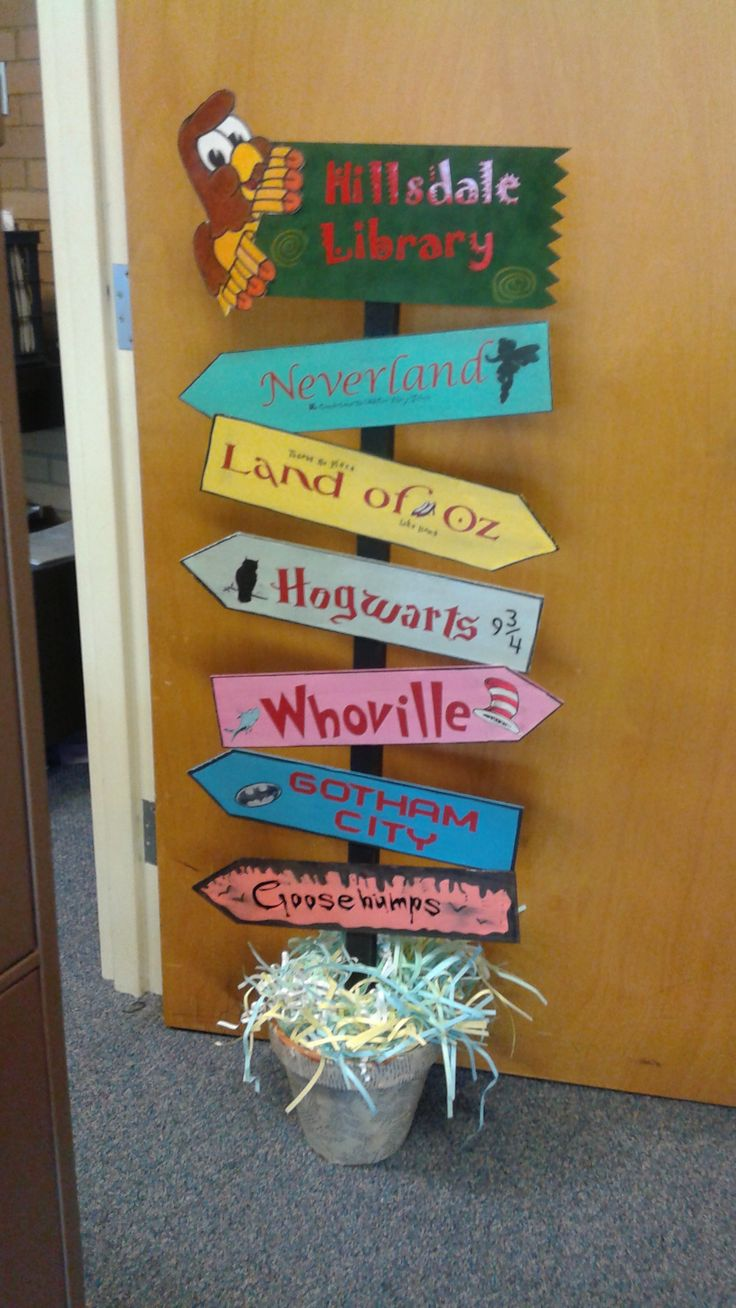 Classroom Decor Ideas For High School ~ Best library display meeting directional signs images