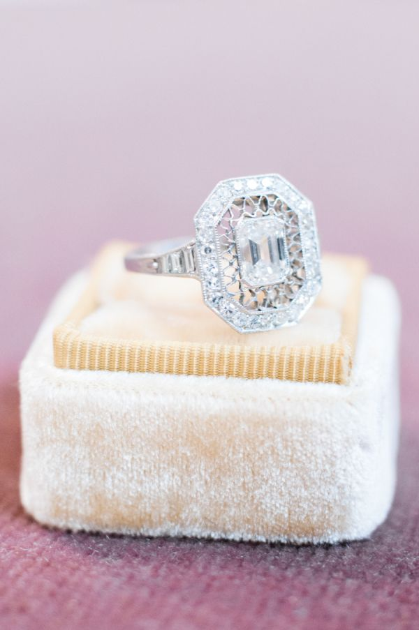 Unique elegant cushion-cut diamond ring: http://www.stylemepretty.com/2016/12/11/10-signs-hes-going-to-propose-this-holiday-season/