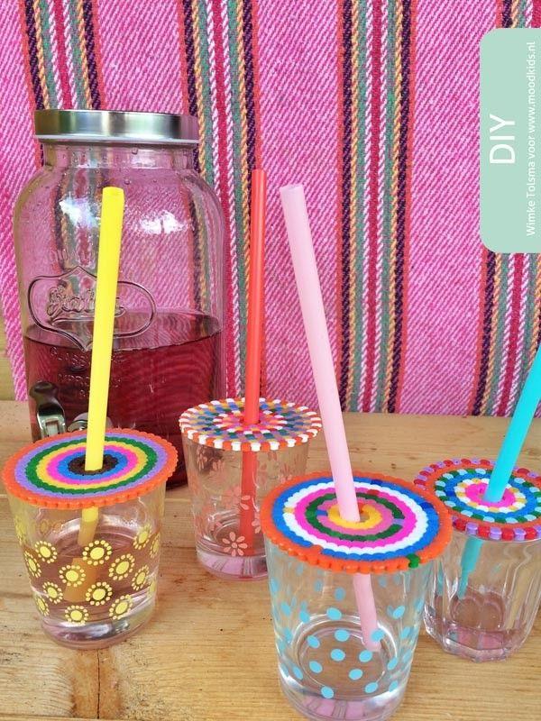 Knutselen met strijkkralen - drank deksel voor tuinfeest