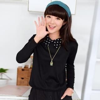 Buy '59 Seconds – Dotted Collar Long-Sleeve Top' with Free International Shipping at YesStyle.com. Browse and shop for thousands of Asian fashion items from Hong Kong and more!