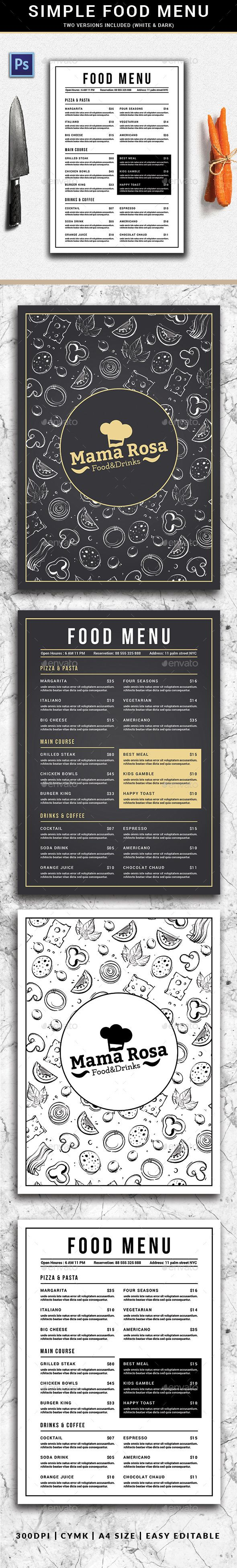 Simple Food Menu Simple Restaurant Menu, can be used for your cafe or restaurant menu. Very easy to edit the text and the image.      Simple Food Menu features     297×210mm A4 + Bleed area     851×315 pixel for Facebook Cover     Well layered and named flyer     CMYK     Print read