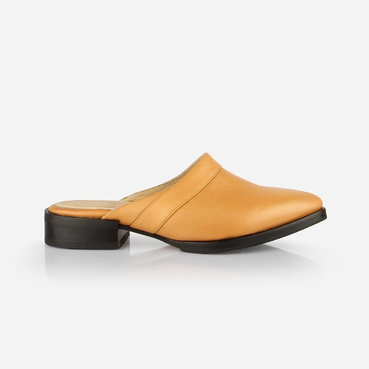 The Slide - honey leather womens close toe shoe - Poppy Barley
