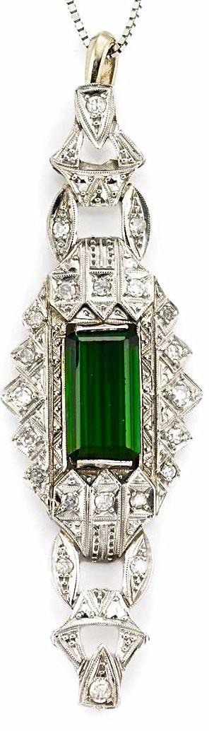 Art Deco Emerald & Diamond Pendant | Luxurydotcom | via