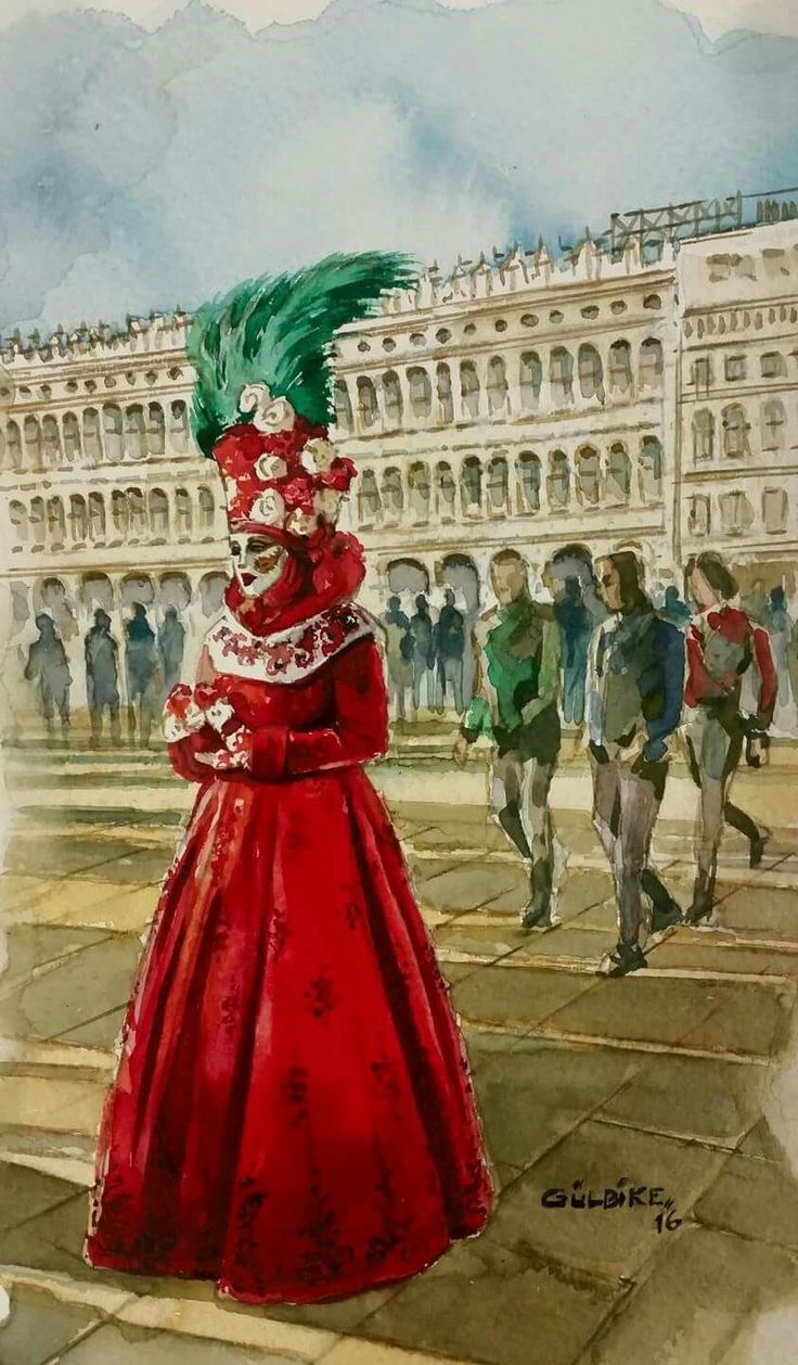 woman with masque. venice carnival. watercolor