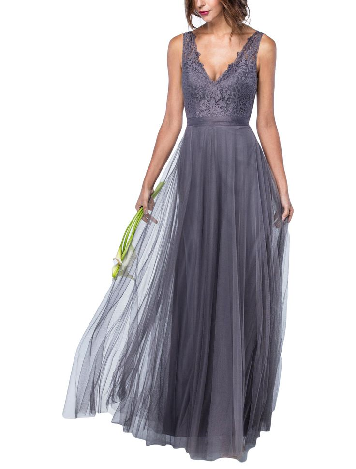 DescriptionWatters DesireeFull length bridesmaid dressVneckline in front and backFlowy skirt with self tie waistAria Lace and Bobbinet Tulle
