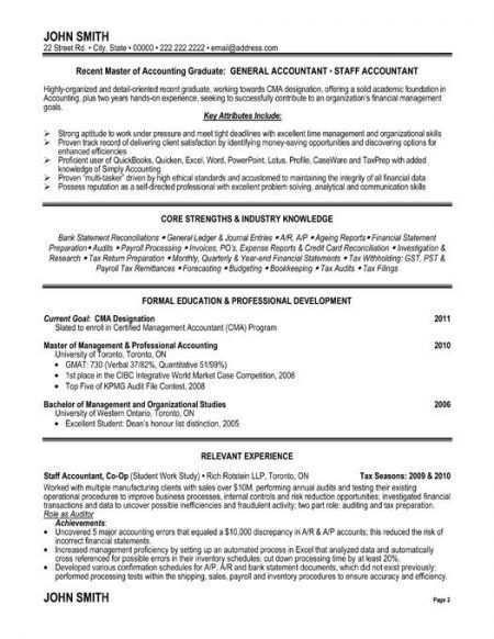 Staff Accountant Resume Examples Senior Sample Entry Level Resumes