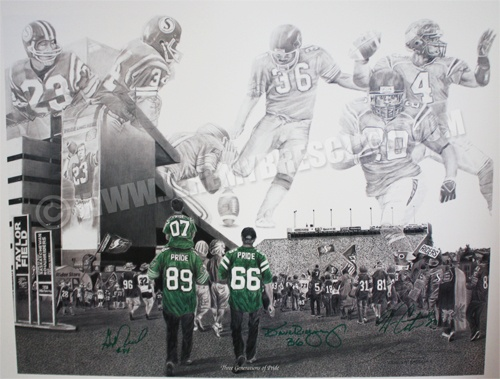 """This is an Autographed special Edition  series of my artwork """"Three Generations of Pride"""".   Numbered 1-100, they are each signed by George Reed, Dave Ridgway and Wes Cates; one legendary player to represent each Grey Cup winning team (ALL 3 Autographs are on EVERY print).     This piece captures the essence of Rider Nation and what it means to have Rider Pride. The scene represents the three years the Saskatchewan Roughriders won the Grey Cup; 1966, 1989 and 2007. The green fans represent…"""