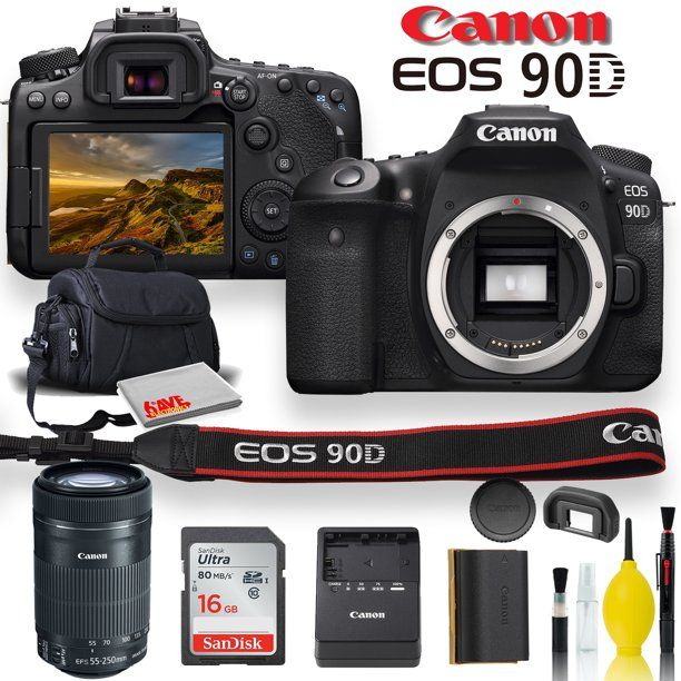 Canon Eos 90d Dslr Camera With Canon Ef S 55 250mm F 4 5 6 Is Stm Lens Soft Padded Case Memory Card And More Walmart Com In 2021 Dslr Camera Digital Camera Cameras For Sale