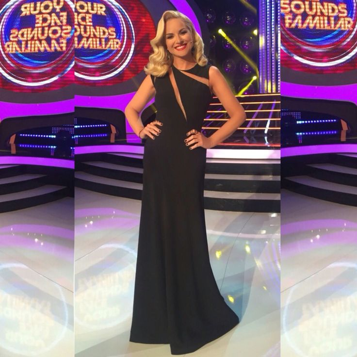 Maria Mpekatorou in Konstantinos Melis by Laskos cut outs haute couture black silk dress for YFSF tv show