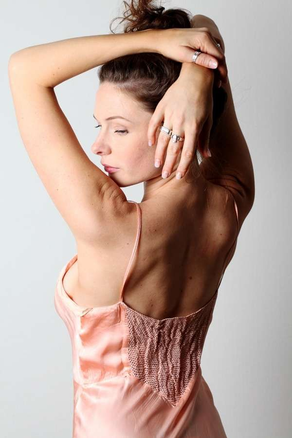 Rebecca Ferguson in Pink Spaghetti Strapped Backless Dress