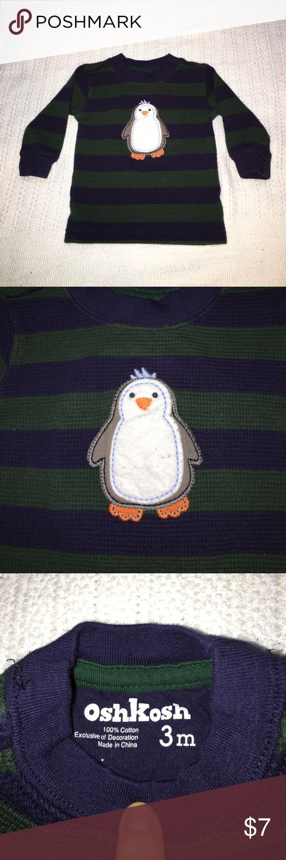 Penguin Thermal W/ Onesie Pants Set Forest green and navy striped thermal with penguin. Size 3M. Comes with blue and white stripped Mommy loves me Onesie and navy blue pants size 3M. Little stained in the front so it's a freebie with the thermal shirt. Shirts & Tops