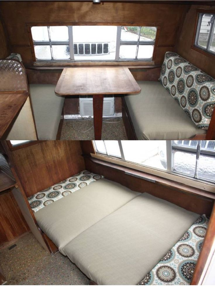 """How to make easy vintage trailer dinette cushions. Step by step pics on their blog."" This might be a good thing to look into, especially since the dinette is very similar to how it is in the Play-mor"
