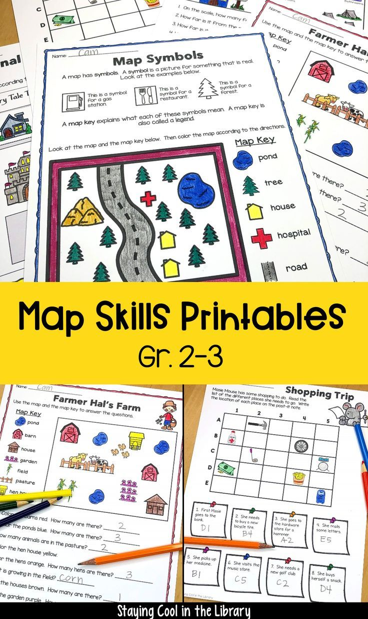 Teach your students map skills with this set of printables and worksheets.  Skills covered include map symbols [ 1236 x 736 Pixel ]
