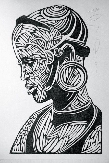 Surma 2, Woodcut print, 25.7 x 16cm - Ben Parsons