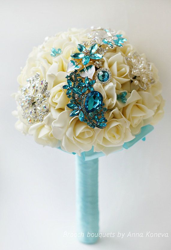 Turquoise Brooch Bouquet Wedding Ivory Brooch bouquet Crystal
