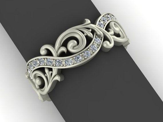 Barroco estilo remolino eternidad anillo en oro blanco de 14K y diamantes
