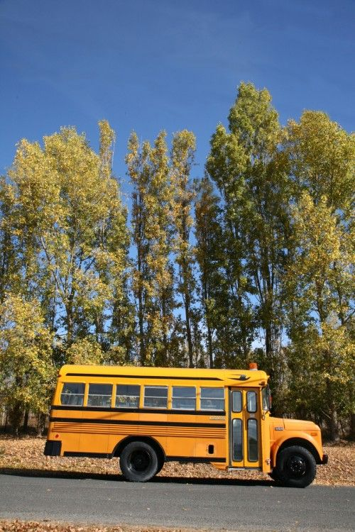 """A small school-bus """"cabin"""", complete with vintage classroom accessories. The interior shots are to die.  Design*Sponge"""