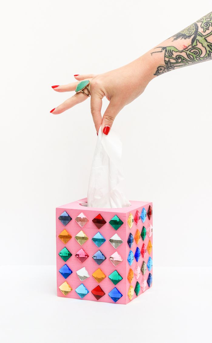 DIY Rhinestone Tissue Box
