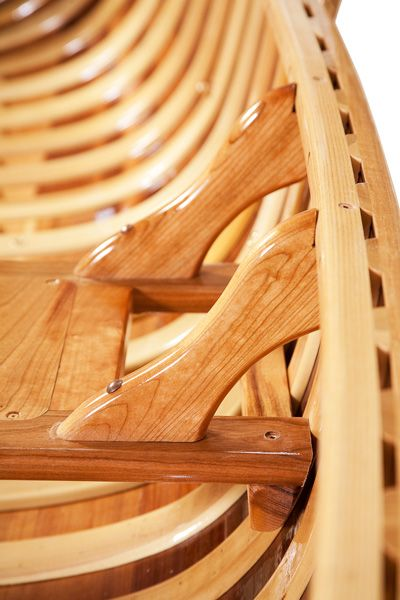 Seat detail on a Classic Cedar canoe by Langford Canoes of Dwight, Canada