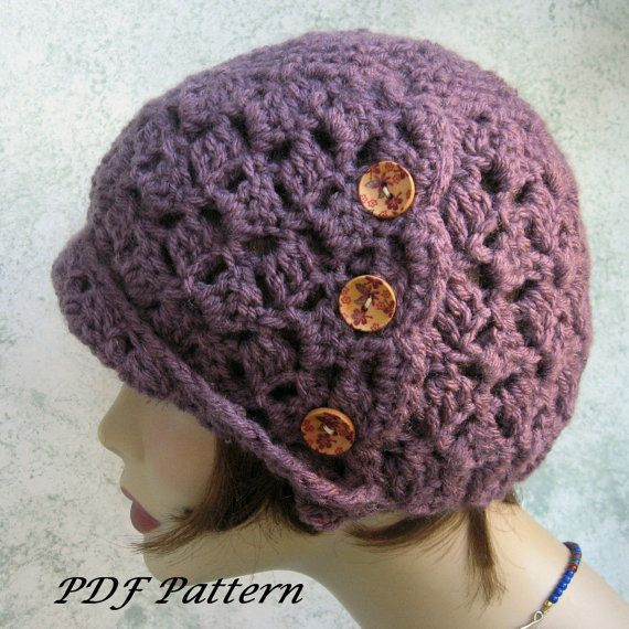 Crochet HAT PATTERN- Womens Flapper Style Cloche With Side Button Trim PDF Easy To Make- Resell finished