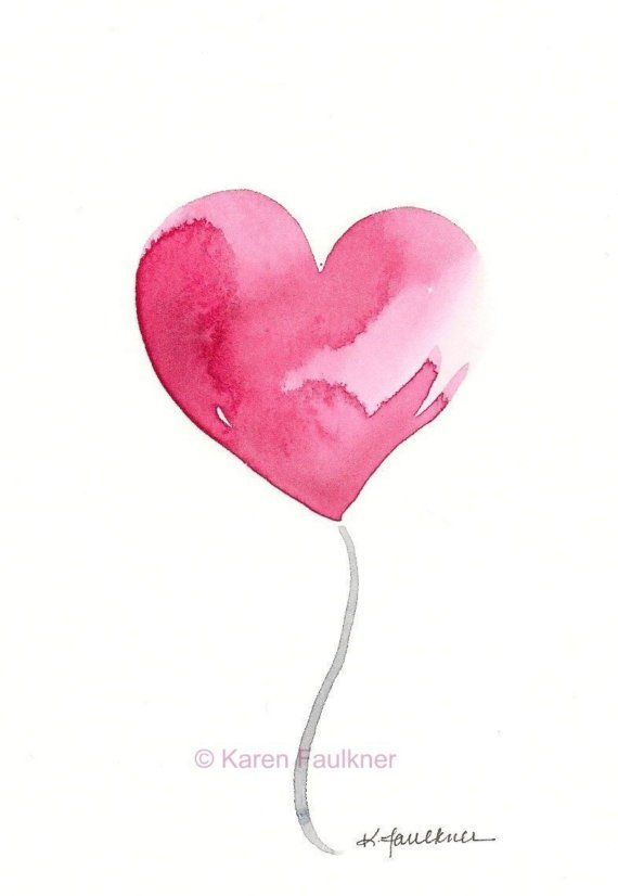 Hello Love watercolor heart giclee fine art by karenfaulknerart, $15.00