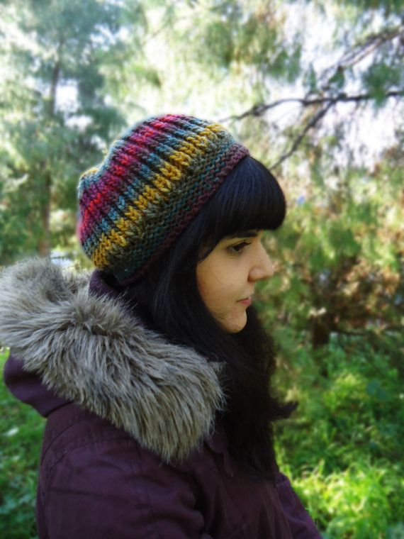 Women's knit wool hat slouchy knit winter hat hand by AlkistiKnits