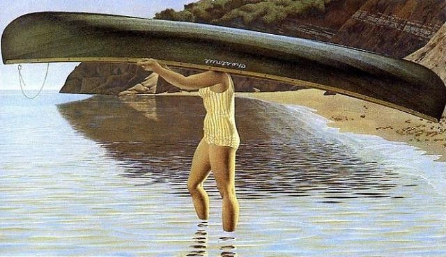Colville, Alex ( Canadian, b. 1929)   - Woman carrying Canoe  - 1972