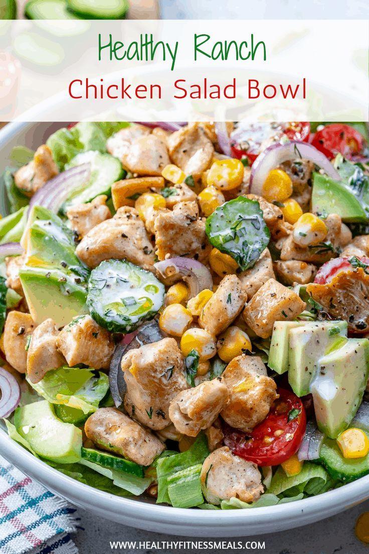 Dieses Ranch Chicken Salad Rezept ist einfach zuzubereiten, gesund und sättigen…