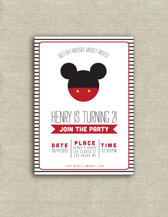 Hey, I found this really awesome Etsy listing at https://www.etsy.com/listing/162389775/mickey-mouse-birthday-invitation