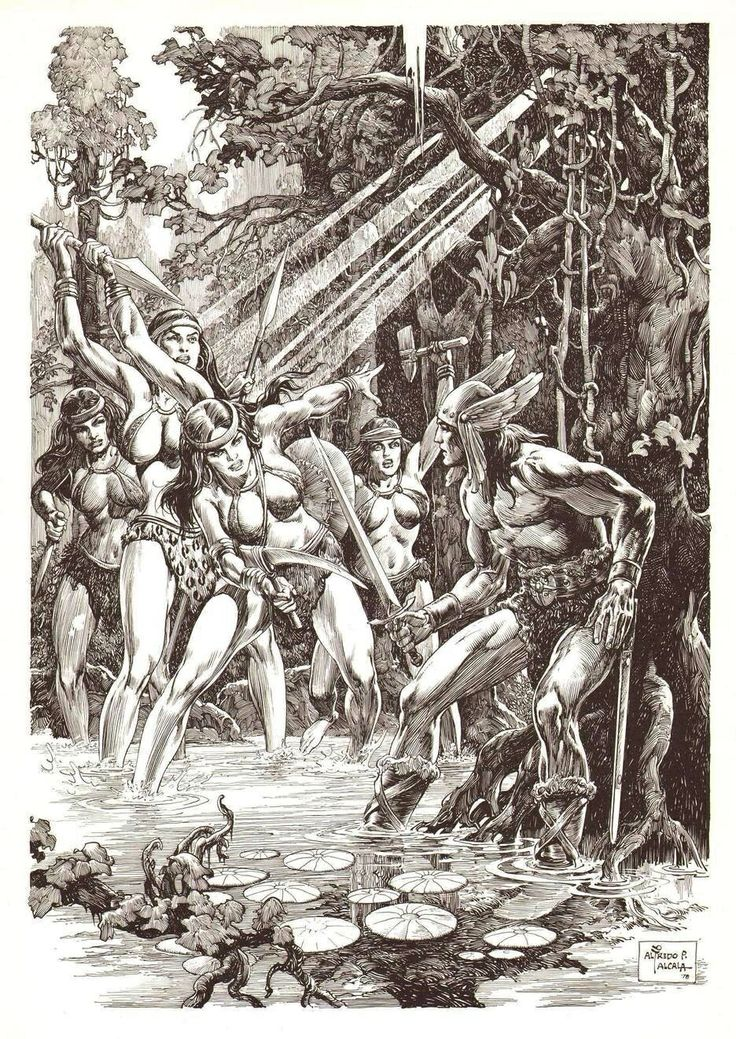 Conan Confronted By Amazons  By Alfredo Alcala  Conan -1691