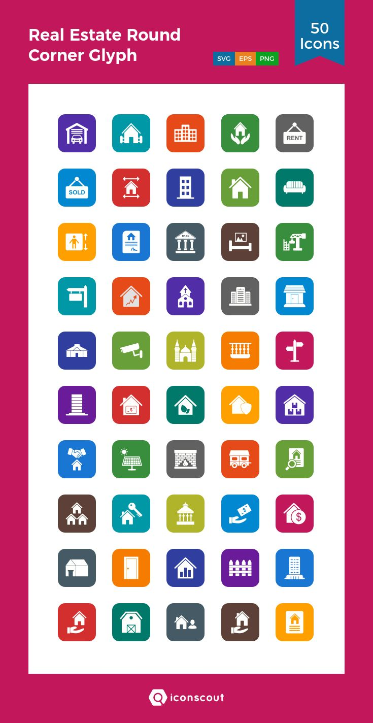 Real Estate Round Corner Glyph  Icon Pack - 50 Solid Icons