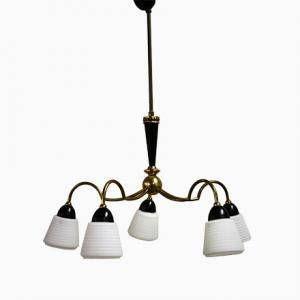 Brass mid century scandinavian chandelier 1950s  vintage