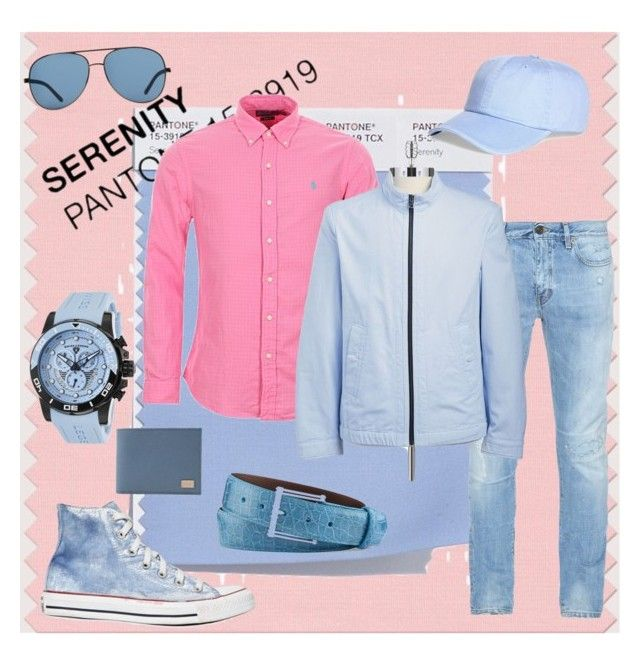 Serenity Blue for Him by dressmeup365 on Polyvore featuring Polo Ralph Lauren, Yves Saint Laurent, HUGO, Converse, Swiss Legend, Dolce&Gabbana, W.Kleinberg, Brooks Brothers, MANGO and men's fashion