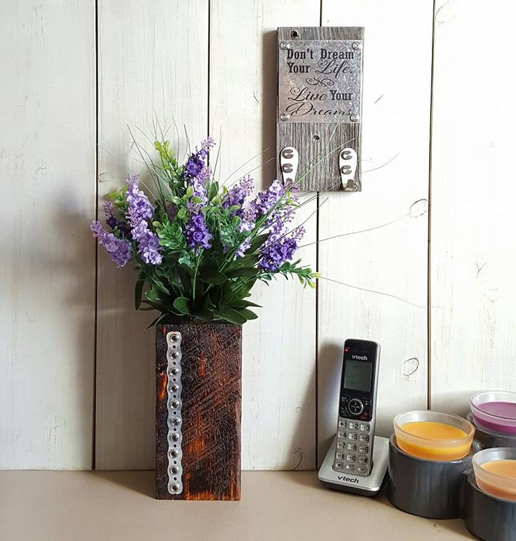 Reclaimed Wood Vase - Lavender Floral Arrangement - Rustic Floral Arrangement - Industrial Floral - Industrial Vase - Mothers Day Gift by UrbanAlloy on Etsy