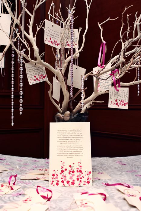 Jenny made these beautiful cherry blossom branches for guests to hang wishes for her and Kevin….