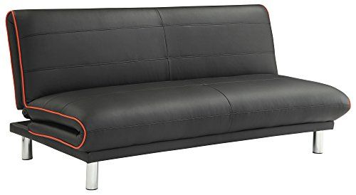 Futon Sofa Bed In Black Leatherette With Red Trim