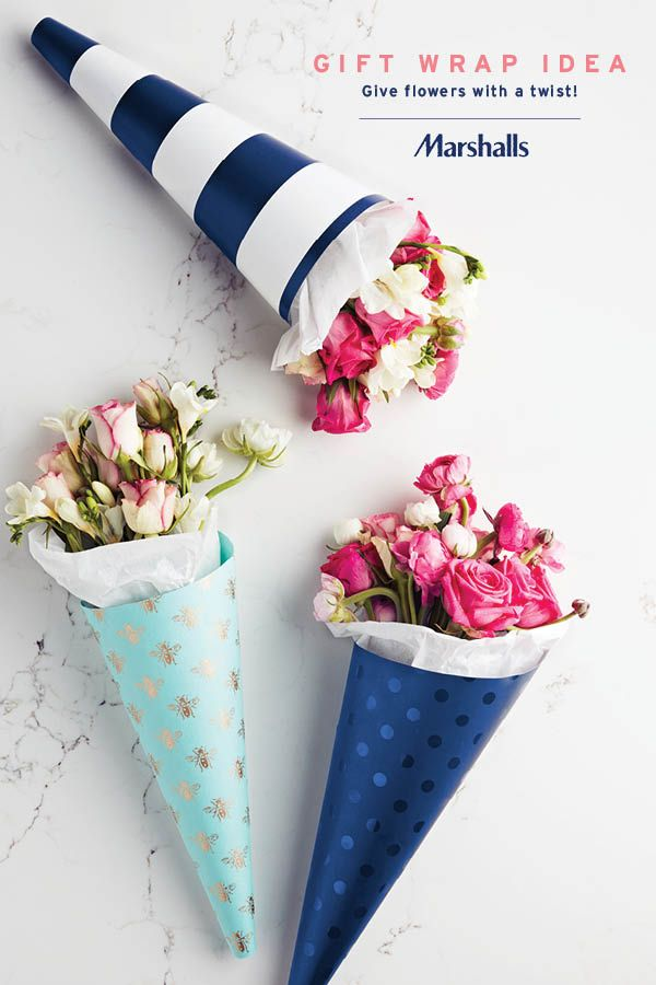 Fun gift idea — give flowers with a twist! Use pretty, printed gift wrap to give any bouquet a fun little touch. Look for cute styles like this metallic bumblebee pattern, navy stripes or tonal prints (blue polka dots on blue)! Visit Marshalls today and pick the paper to inspire your gift.
