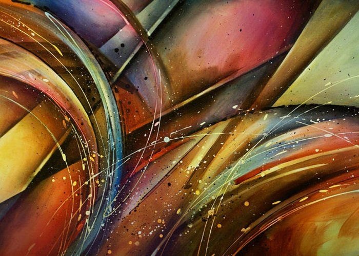 Abstract Greeting Card featuring the painting Abstract Design 111 by Michael Lang