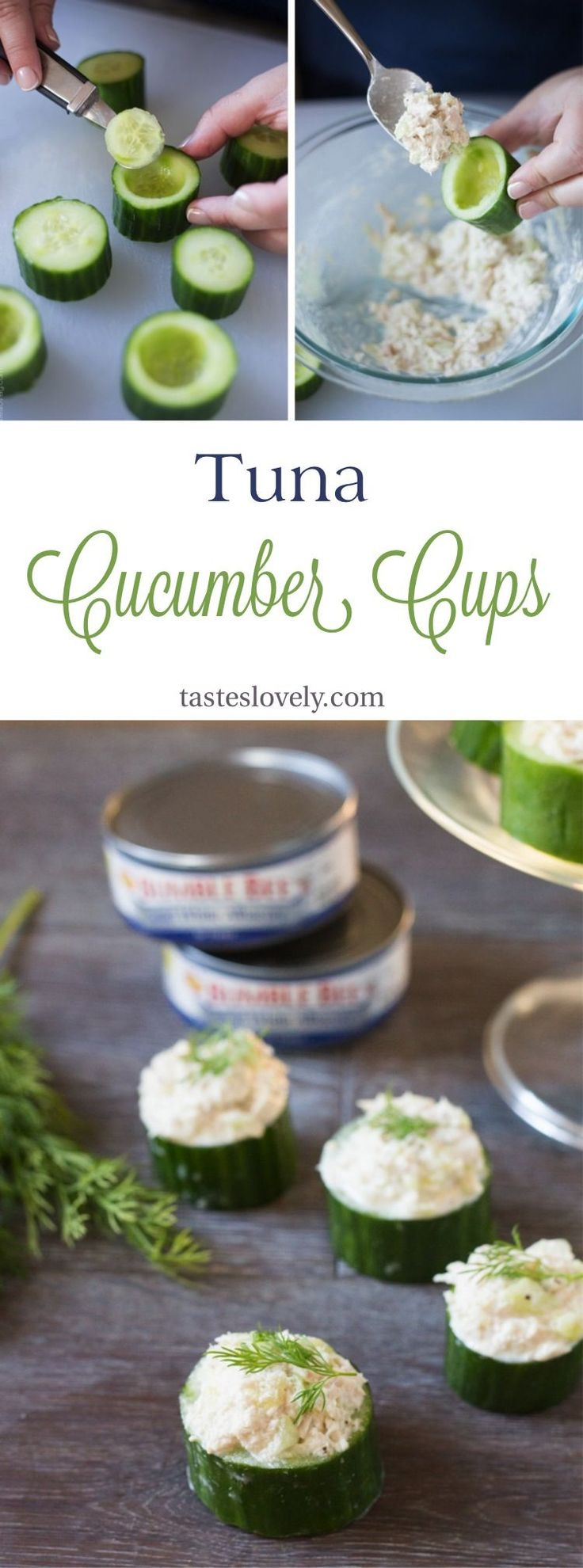 Party Appetizer Ideas | Healthy and delicious Tuna In Cucumber Cups. A cute lunch, snack or appetizer!