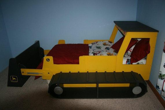 My sons' dream bed...  Rough and Rugged Bull Dozer 'Dozer Construction Themed Childrens Bed - Twin Size Playbed (Full size available)