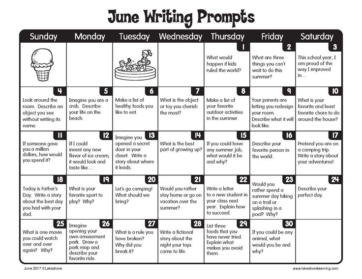 June Writing Prompts from Lakeshore Learning!