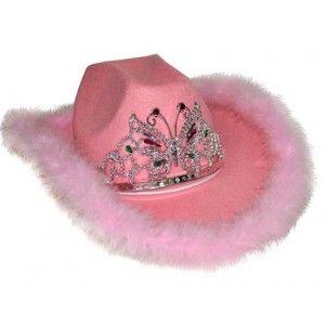 Chapeau cowboy rose femme avec diadème et boa rose de plumes.