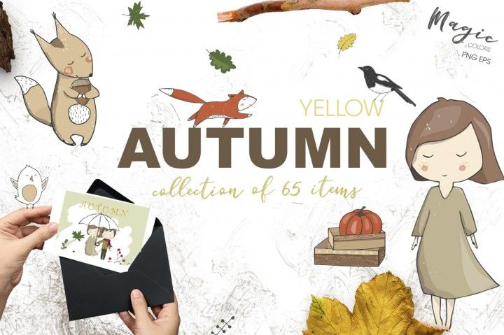 Yellow Autumn Graphics Set By Ann Art House - perfect for modern wedding invitations, photography website, album or photo blog, party invites, announcements, scrap booking, cards and more. **Affiliate Link**