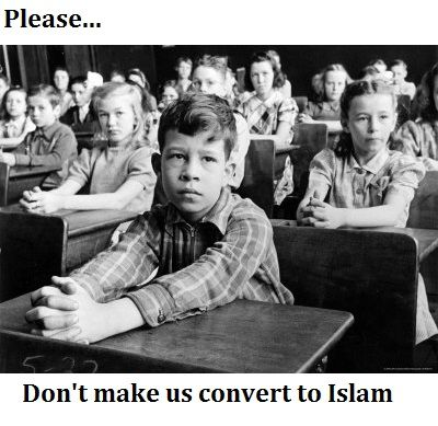 """Michigan has become a hotbed for extremist Muslim demands in which public schools are being coerced, in the name of Sharia Law to force Non-Muslims to capitulate and practice Muslim traditions. For example, in Michigan, several high school girls were forced to wear hijabs in school for a class lesson to """"explore religion and identity."""" The students were not given a choice."""
