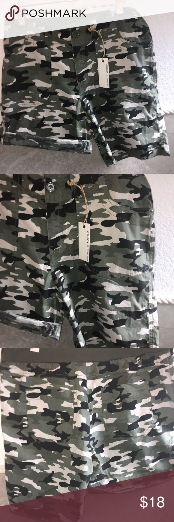 "Comfy camouflage cotton shorts waist 34"" Camouflage shorts with elastic on back pockets all around can be rolled up or down inseam 8"" rolled up 5"" George & Martha Shorts"