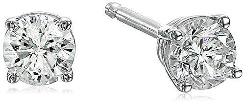 14K White Gold Diamond Stud Earrings (1/4 cttw K-L Color I2 Clarity)...
